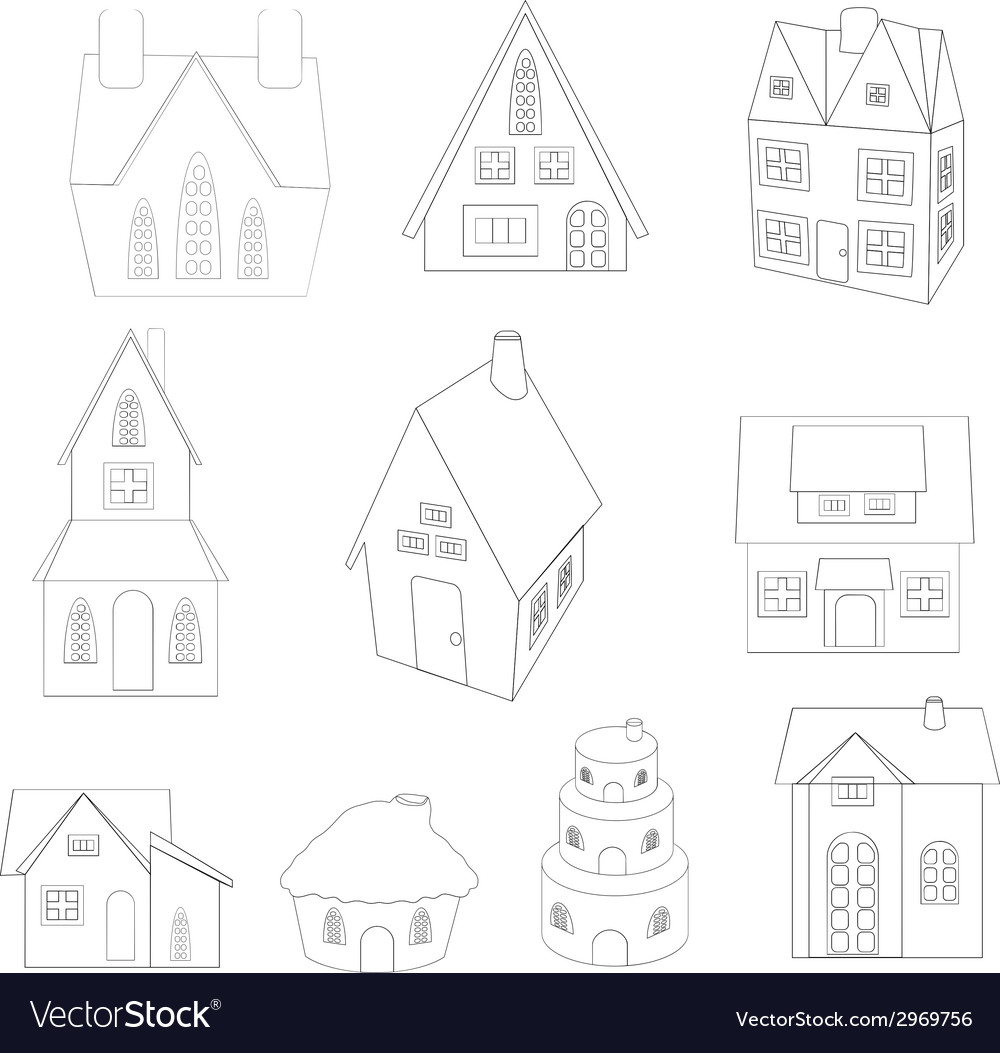 Christmas house sketches vector | Price: 1 Credit (USD $1)