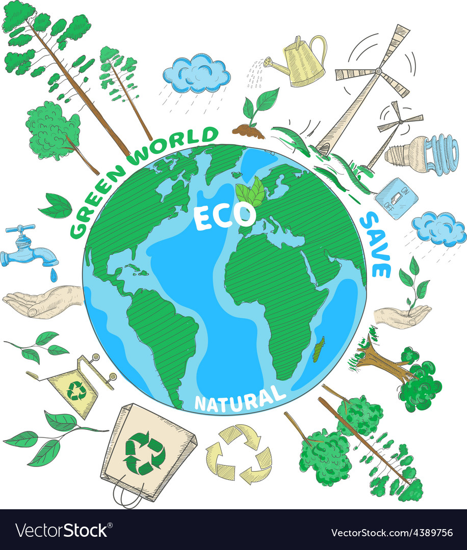 Doodle ecology concept vector   Price: 1 Credit (USD $1)