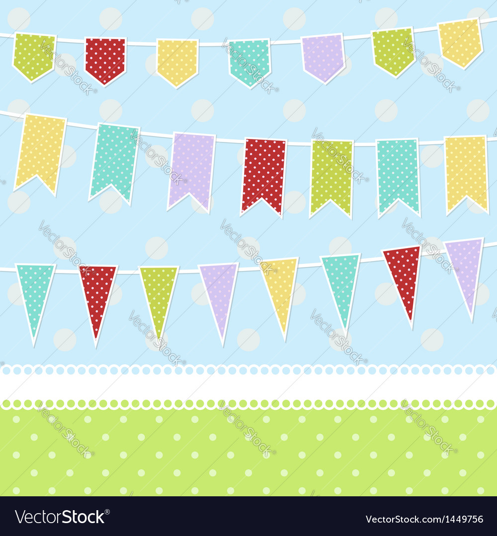 Greeting card with colorful childish bunting flags vector | Price: 1 Credit (USD $1)