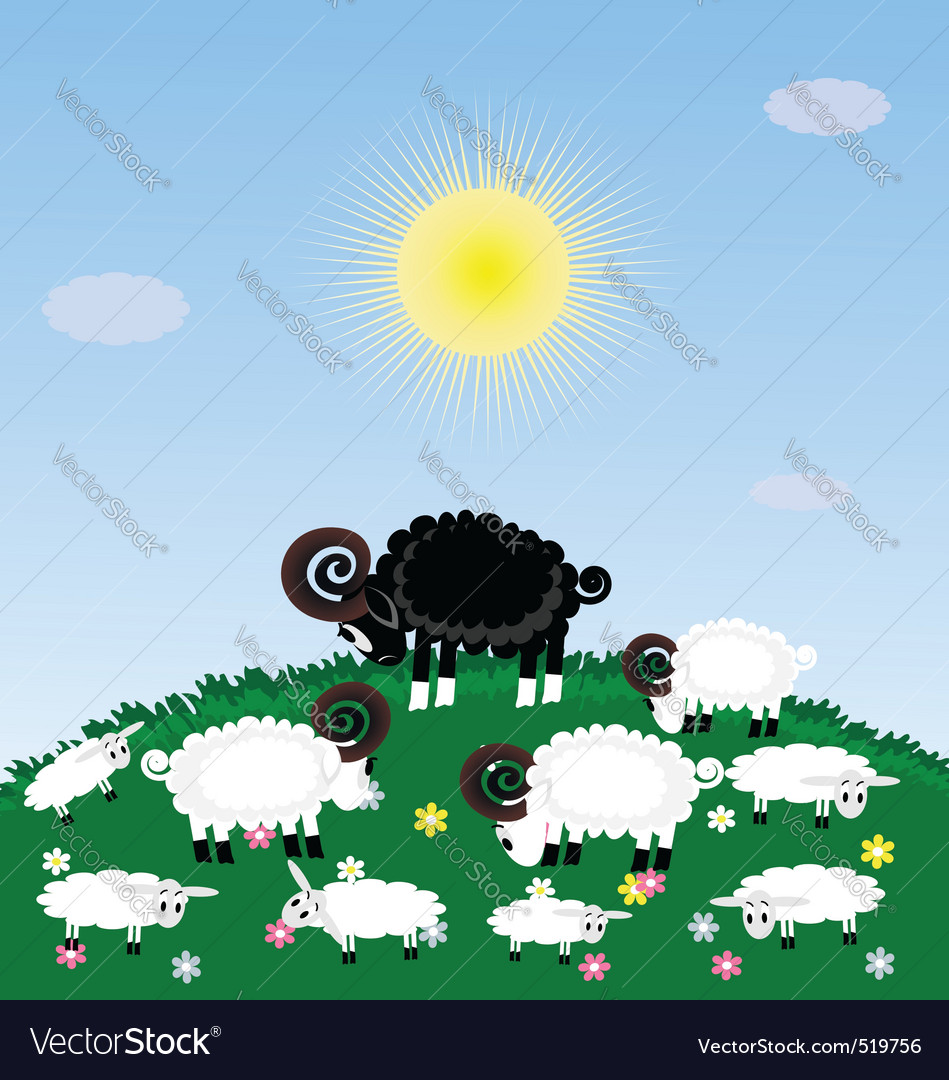 Lonely sheep vector | Price: 1 Credit (USD $1)