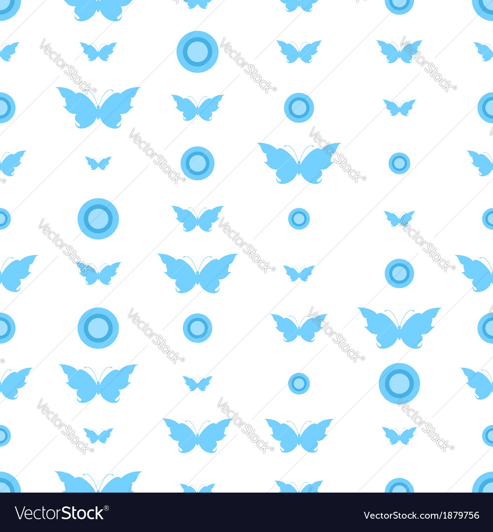 Seamless pattern with butterflies and circles vector | Price: 1 Credit (USD $1)