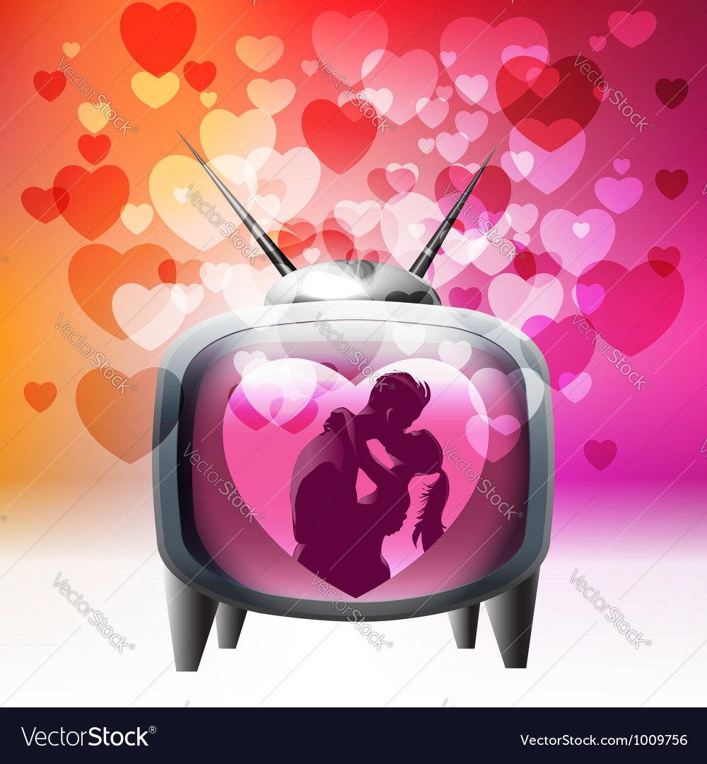 Tv spreading love around vector | Price:  Credit (USD $)