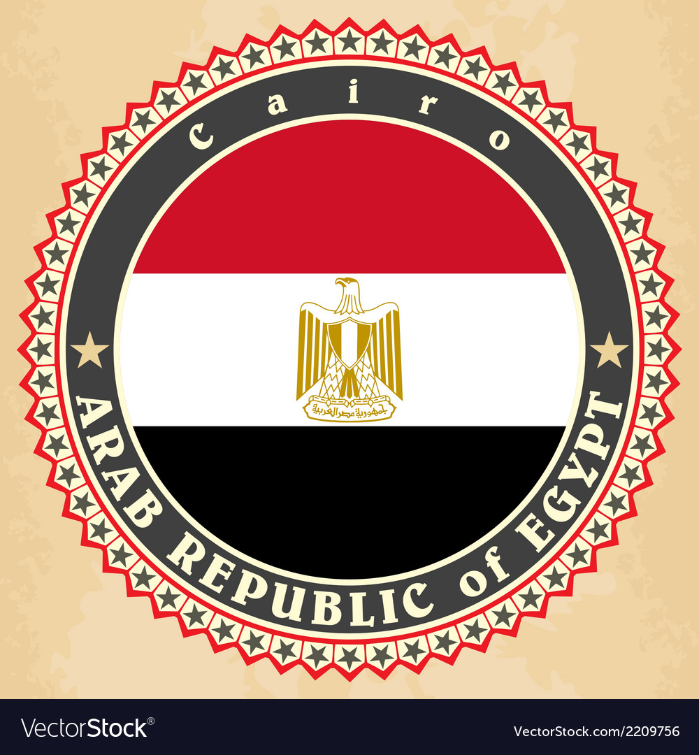 Vintage label cards of egypt flag vector | Price: 1 Credit (USD $1)