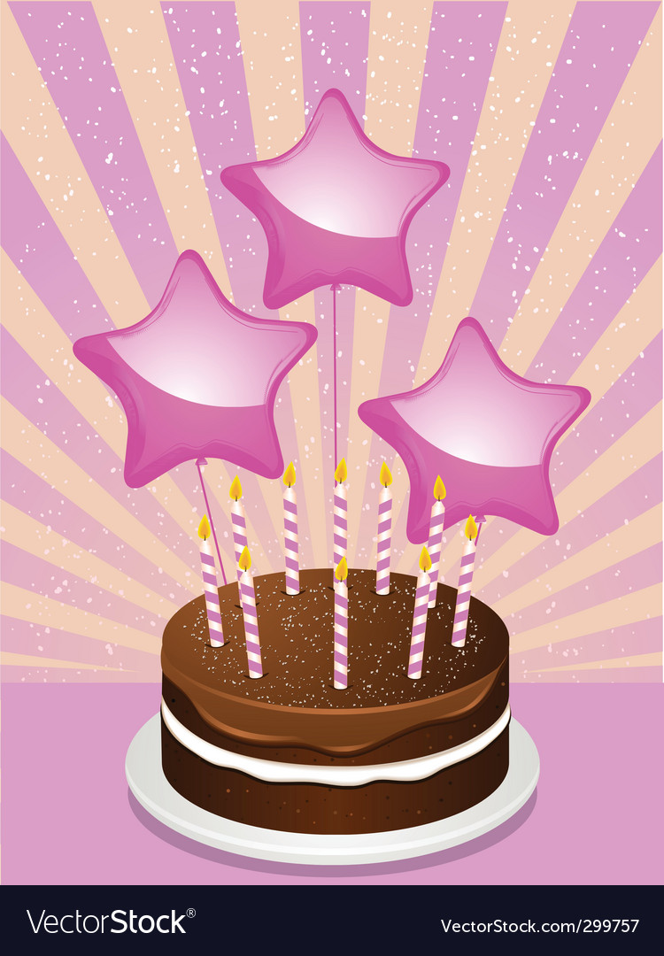 Birthday chocolate cake and balloons vector | Price: 1 Credit (USD $1)