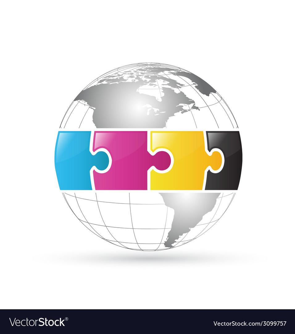 Cmyk world globe vector | Price: 1 Credit (USD $1)