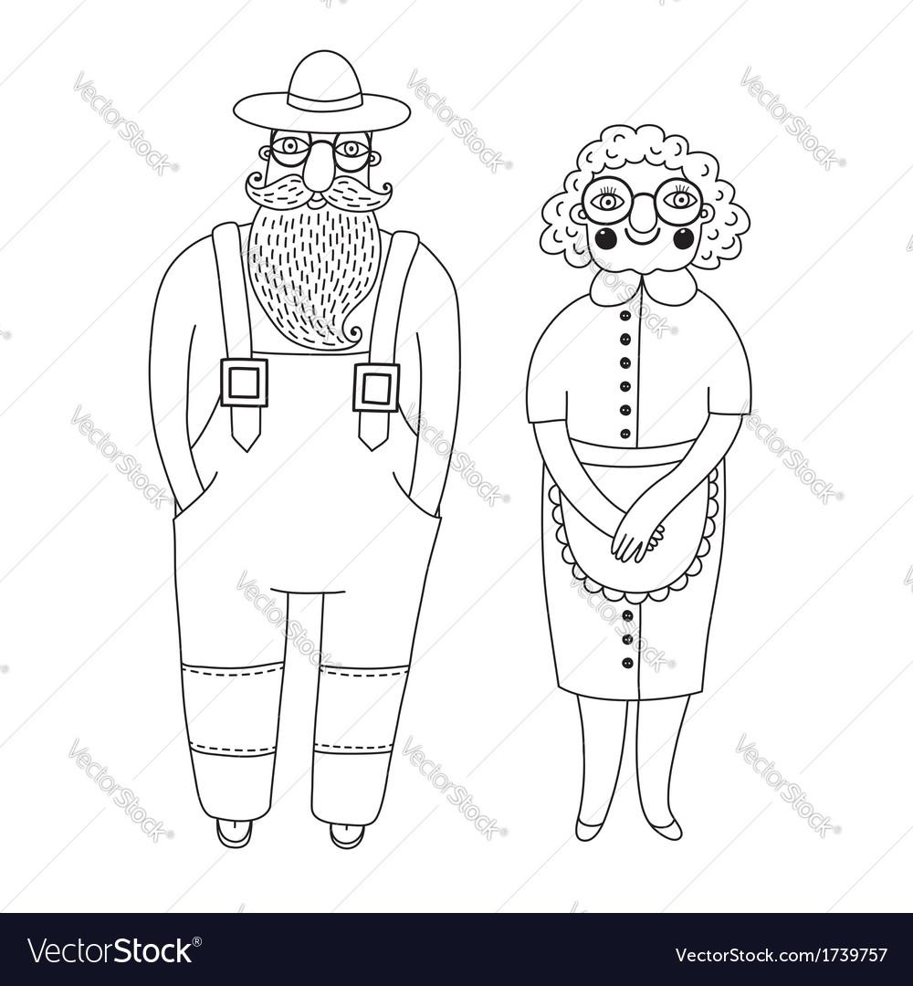Elderly couple grandparents vector | Price: 1 Credit (USD $1)