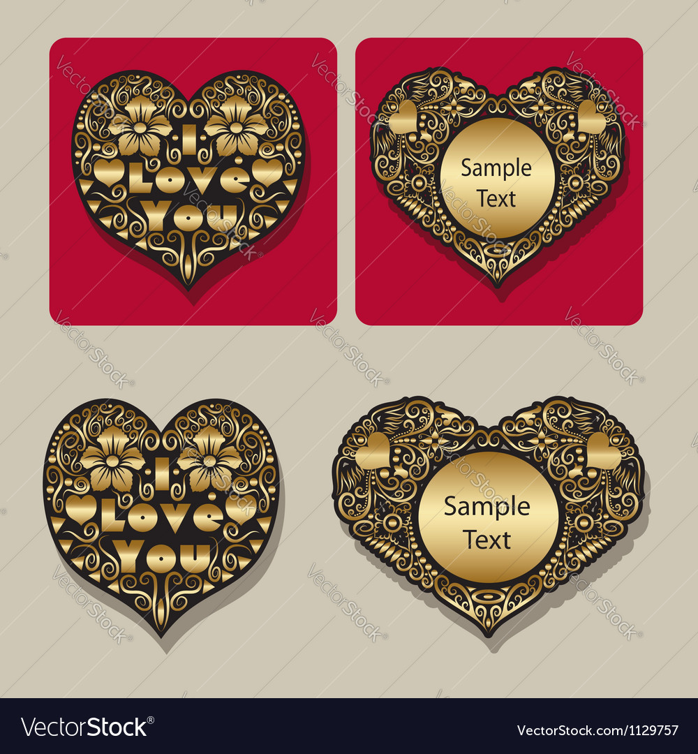 Golden heart floral ornament icons vector | Price: 1 Credit (USD $1)