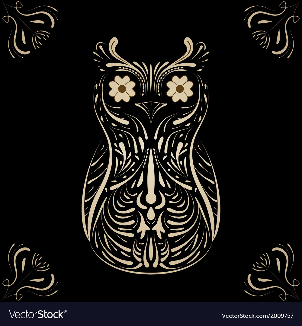 Owl on black background vector | Price: 1 Credit (USD $1)