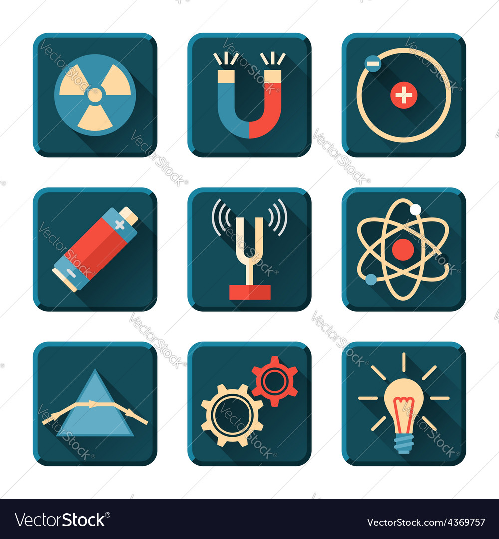 Physics icons in flat design style vector | Price: 1 Credit (USD $1)