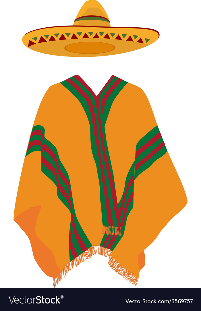 Sombrero and mexican poncho vector