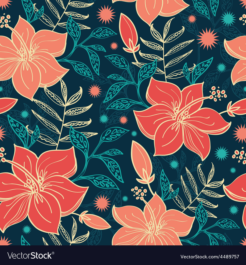 Vibrant tropical hibiscus flowers seamless vector | Price: 1 Credit (USD $1)