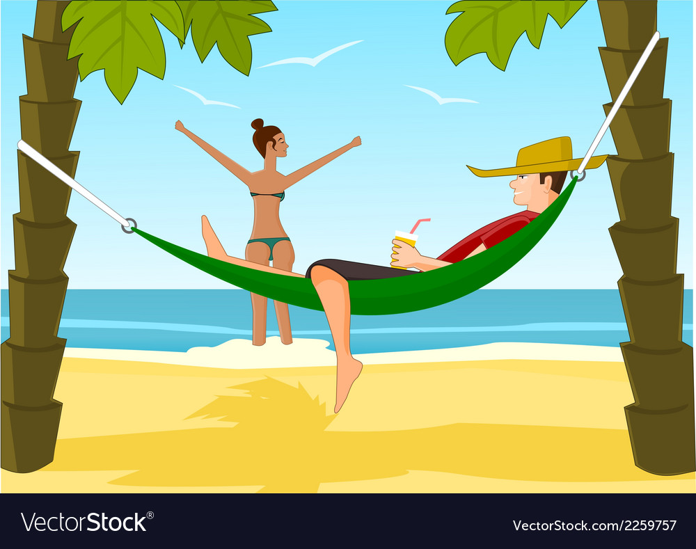Young man and his girlfriend relaxing on a beach vector | Price: 1 Credit (USD $1)