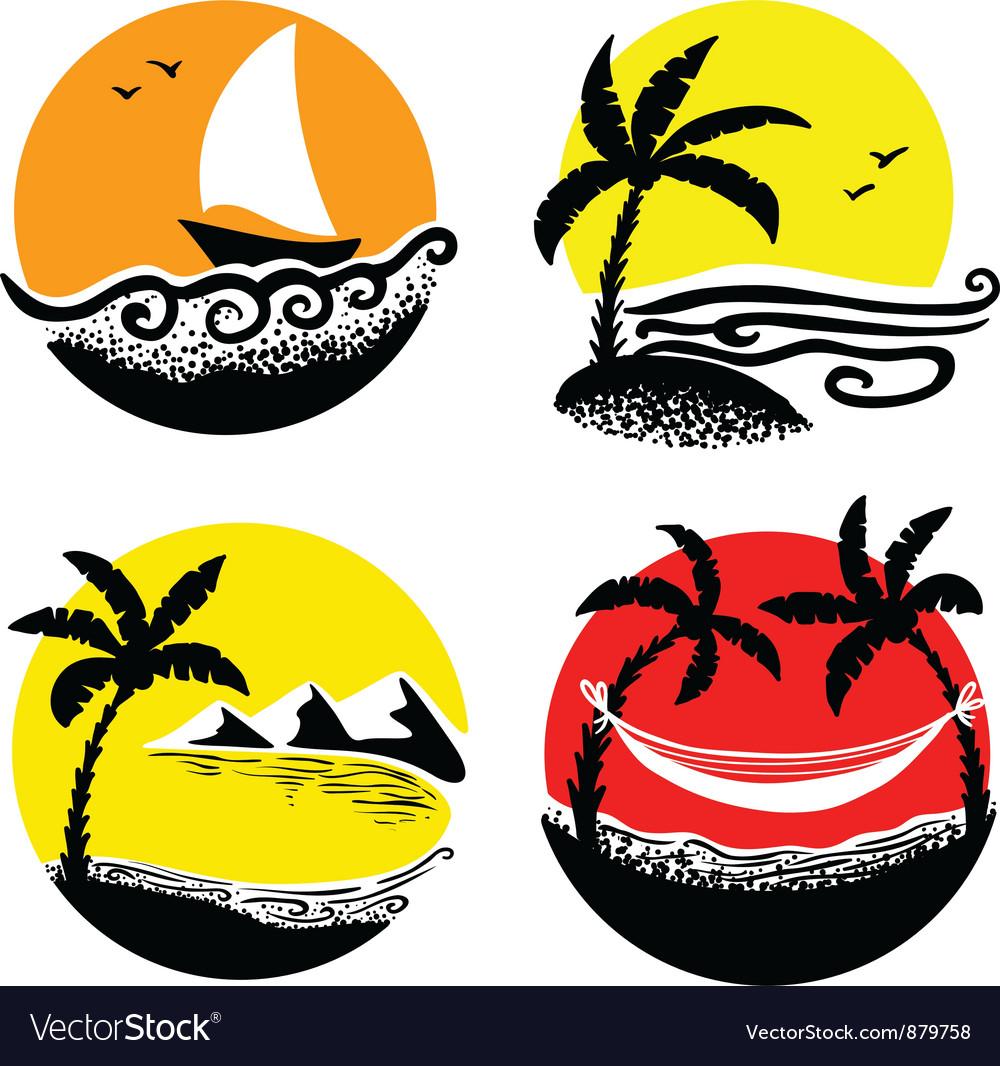 Beach icons vector | Price: 1 Credit (USD $1)