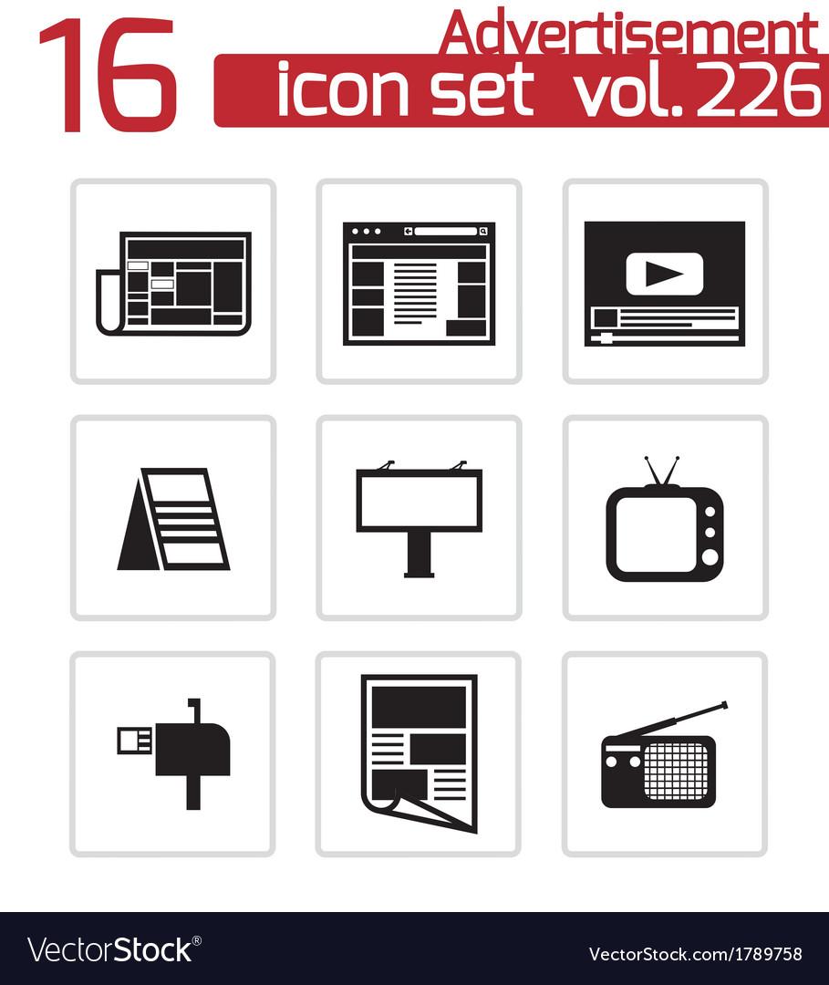 Black advertisement icons set vector   Price: 1 Credit (USD $1)