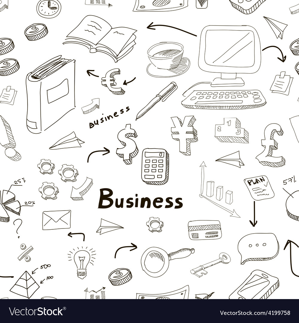 Business doodles seamless pattern vector | Price: 1 Credit (USD $1)