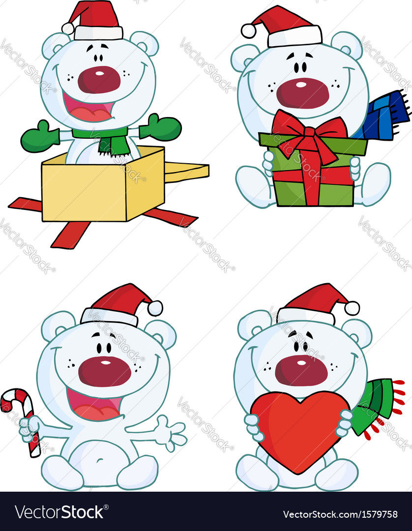 Cartoon chirstmas bear vector | Price: 1 Credit (USD $1)