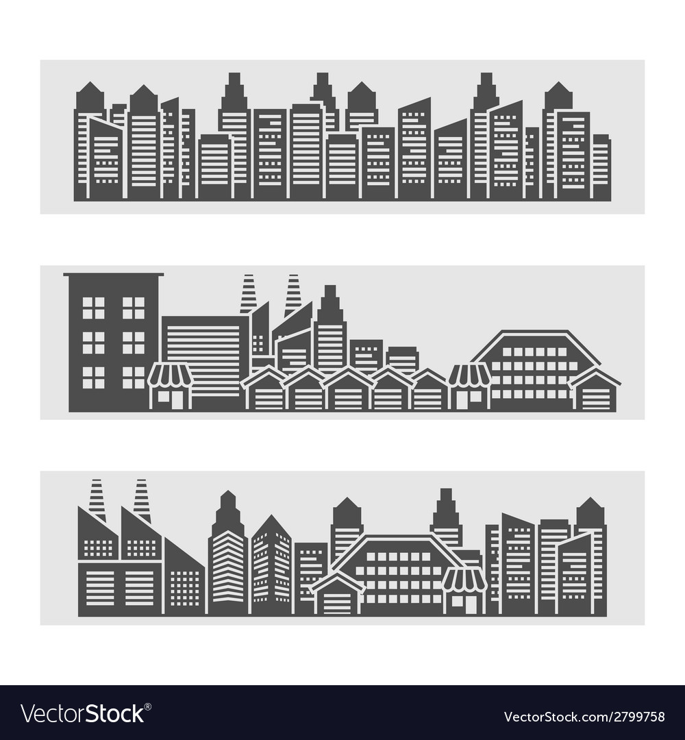 Cityscape icons banner vector | Price: 1 Credit (USD $1)