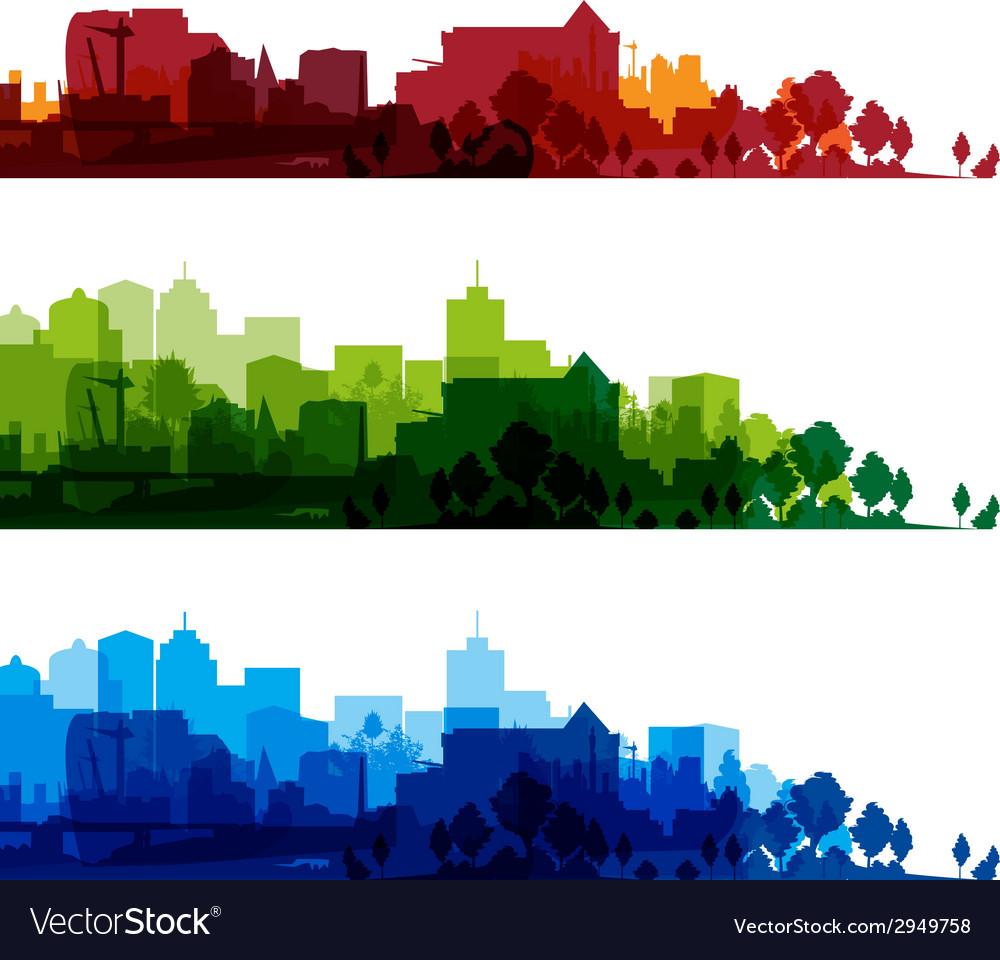 Cityscape overprinturban summer red home 3d s vector