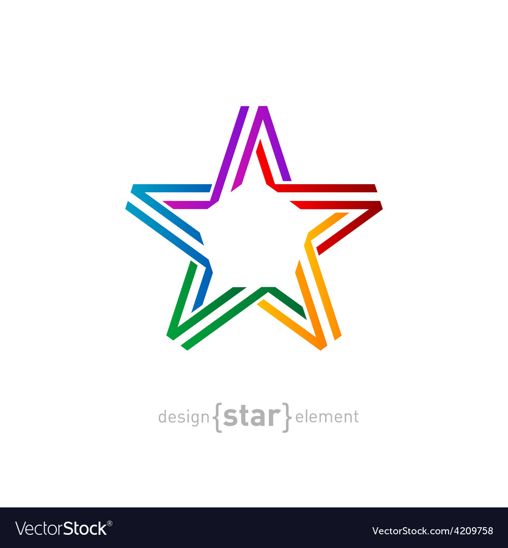 Colorful star from ribbon on white background vector | Price: 1 Credit (USD $1)