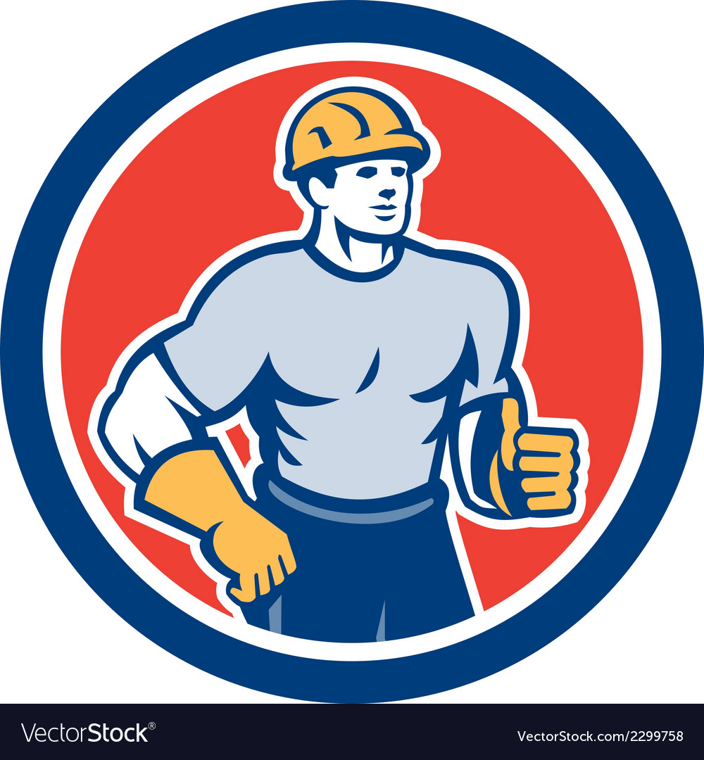 Construction worker thumbs up circle retro vector | Price: 1 Credit (USD $1)