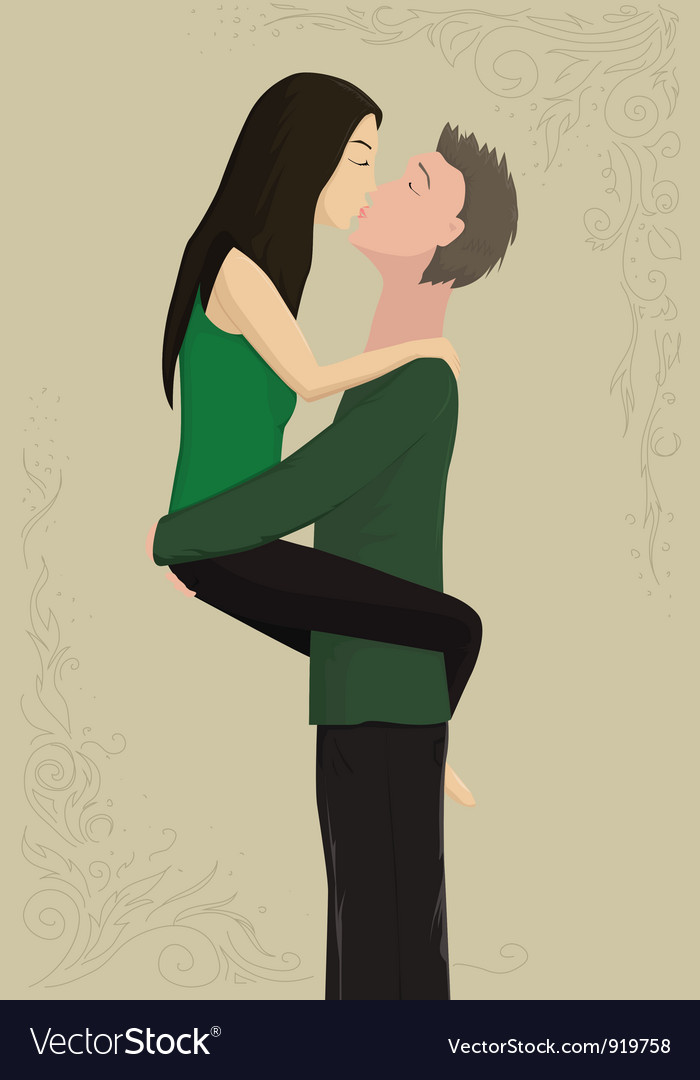 Couple ardently kisses vector | Price: 1 Credit (USD $1)