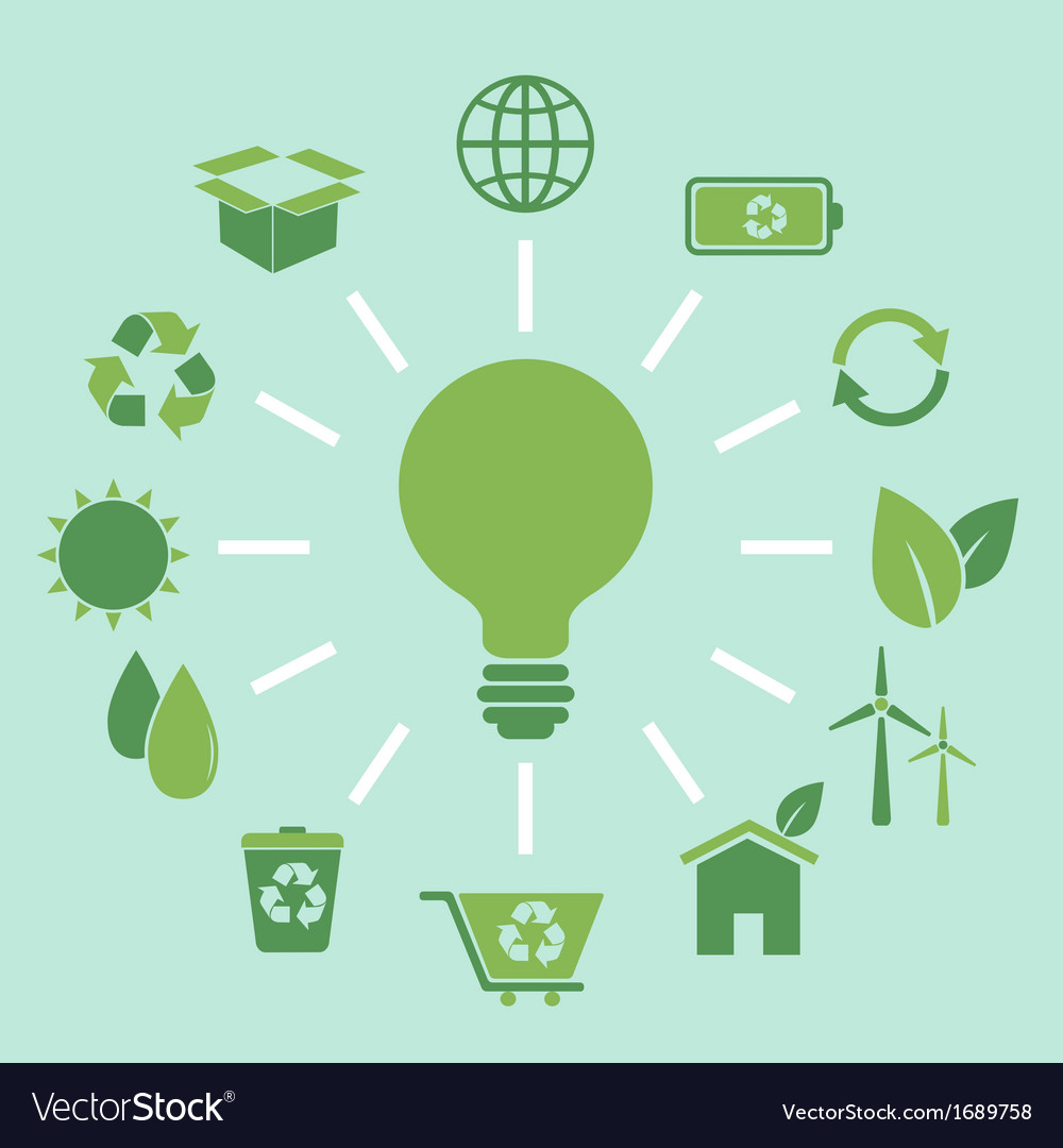 Ecology concept idea in flat style vector | Price: 1 Credit (USD $1)