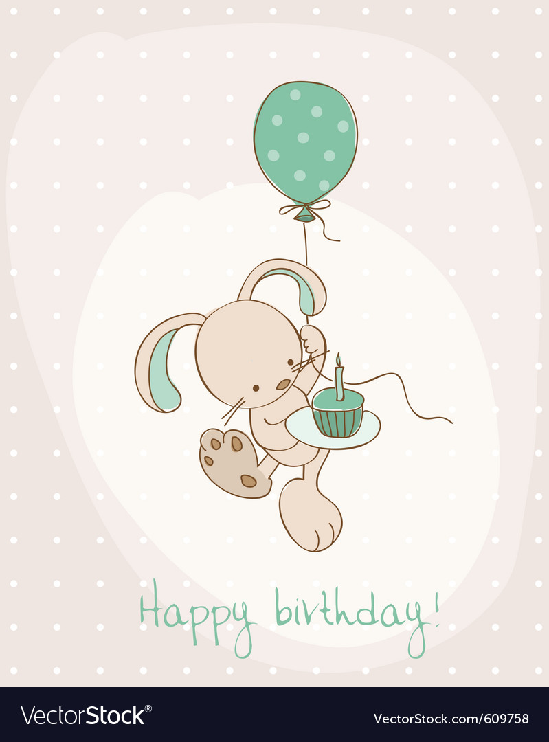 Greeting birthday card with cute bunny vector | Price: 1 Credit (USD $1)