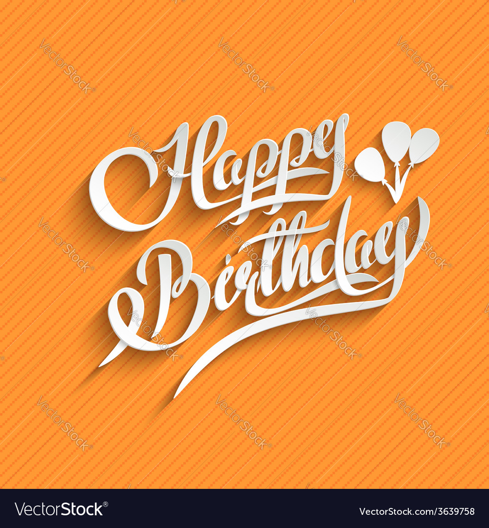 Happy birthday lettering greeting card vector | Price: 1 Credit (USD $1)
