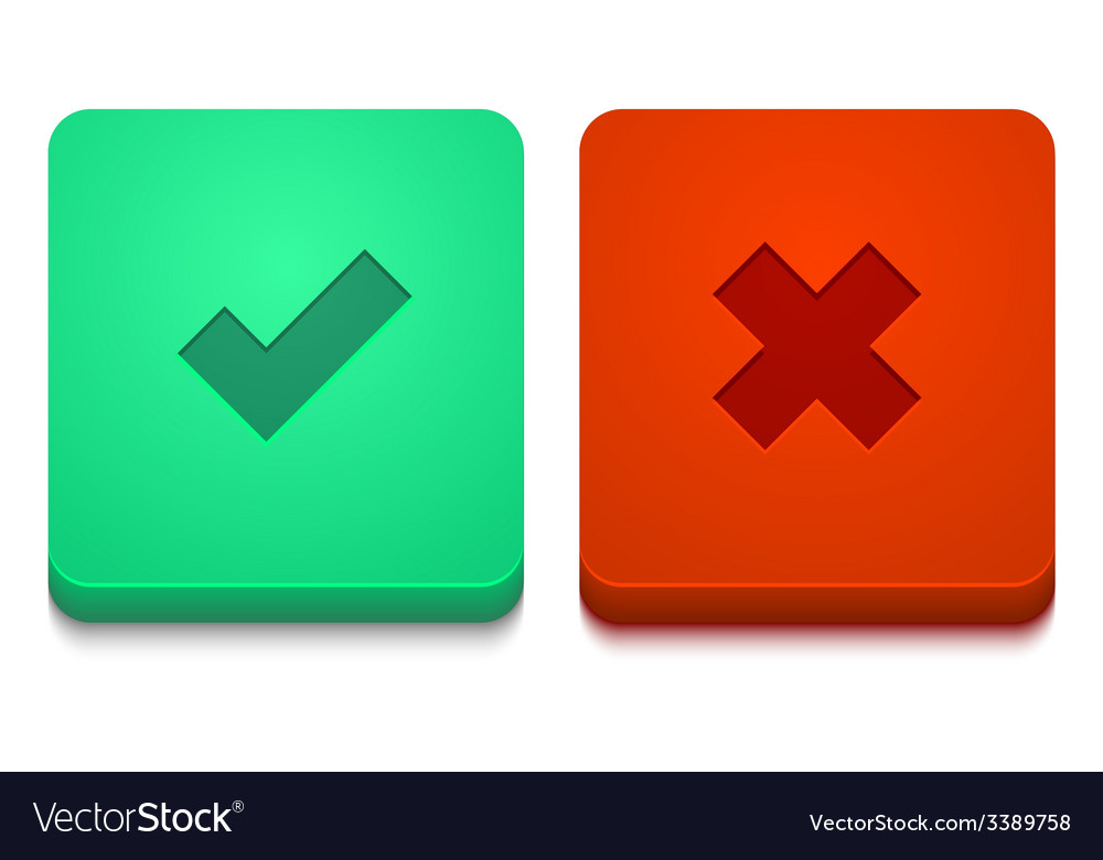 Modern yes and no icons set vector | Price: 1 Credit (USD $1)