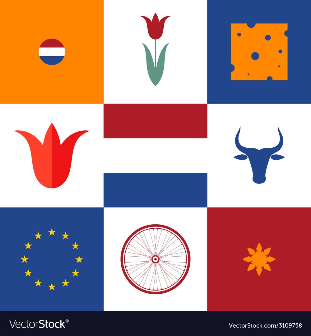 Netherlands icon set vector | Price: 1 Credit (USD $1)