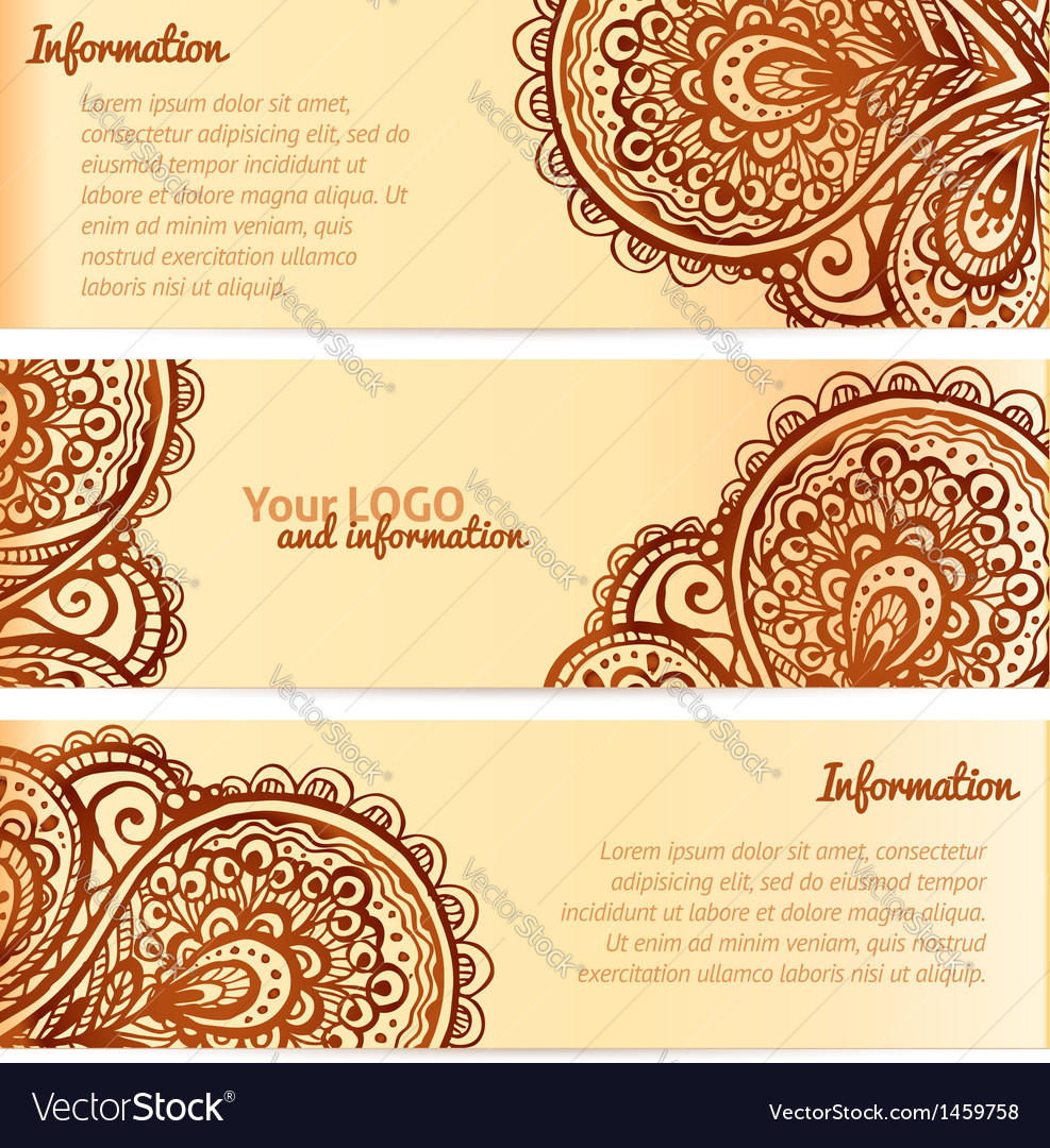 Ornate henna ornament vintage banners vector | Price: 1 Credit (USD $1)