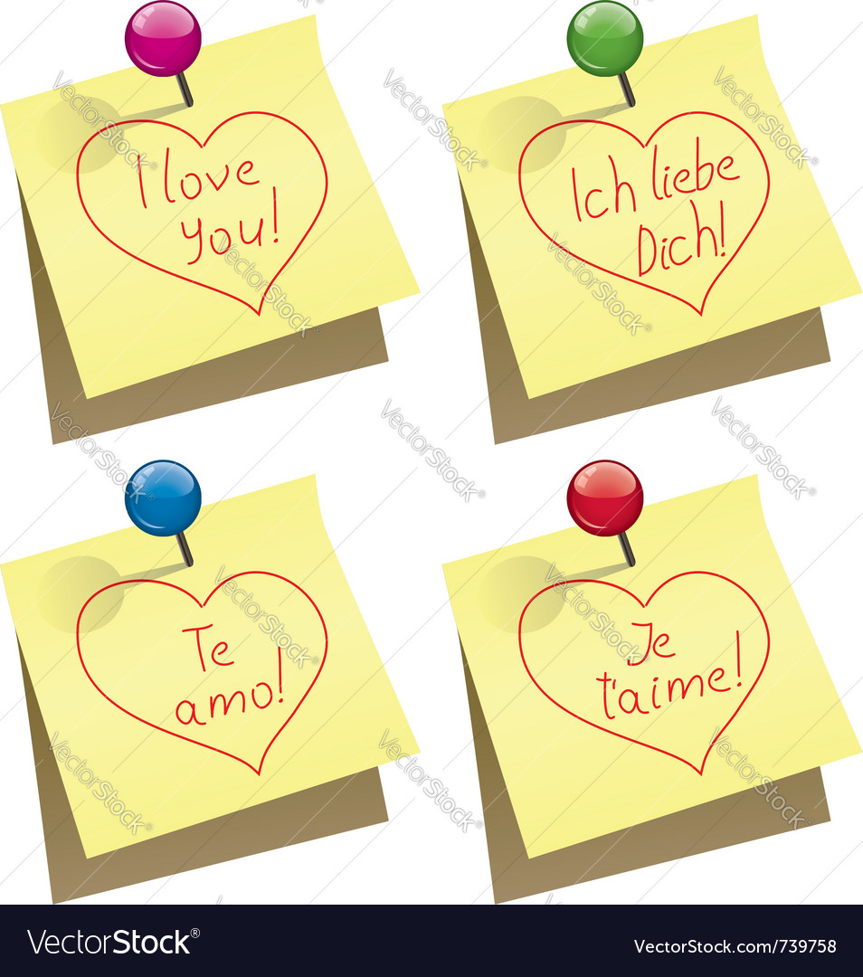Paper notes with i love you words vector | Price: 1 Credit (USD $1)