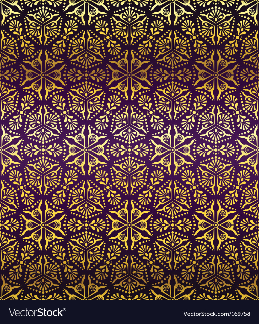Purple and gold seamless arabesque vector | Price: 1 Credit (USD $1)