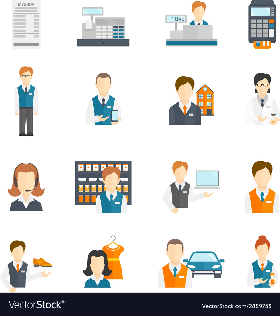 Set icons salesman flat vector | Price: 1 Credit (USD $1)