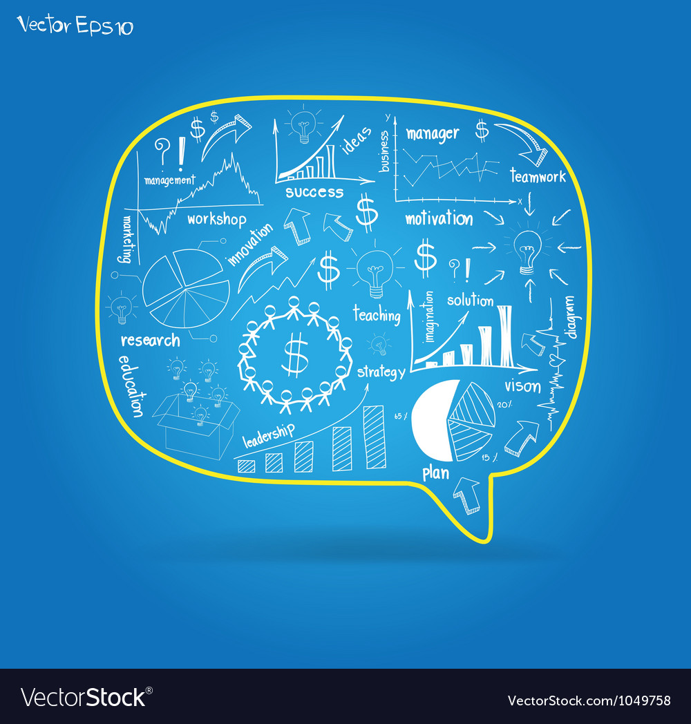Speech bubble with drawing business plan vector | Price: 1 Credit (USD $1)