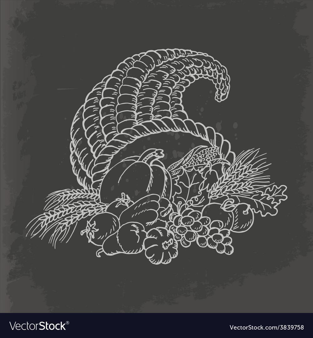 Thanksgiving cornucopia in sketch style card vector | Price: 1 Credit (USD $1)