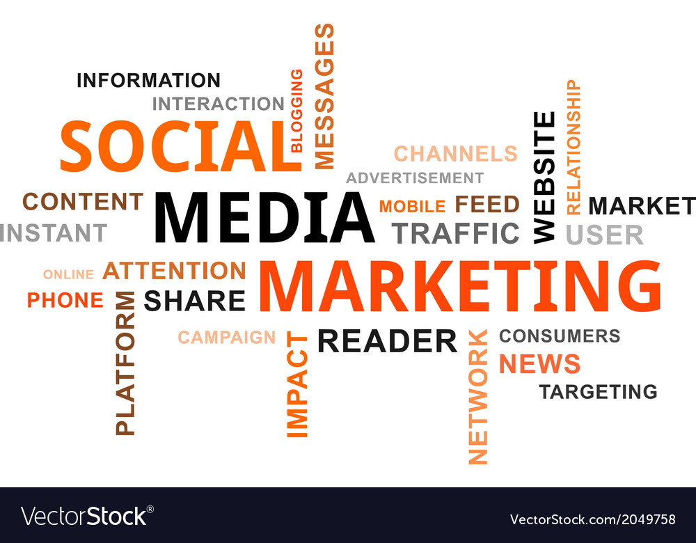 Word cloud social media marketing vector | Price: 1 Credit (USD $1)