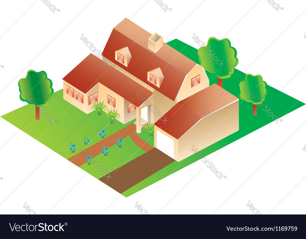 3d big house with garden vector | Price: 1 Credit (USD $1)