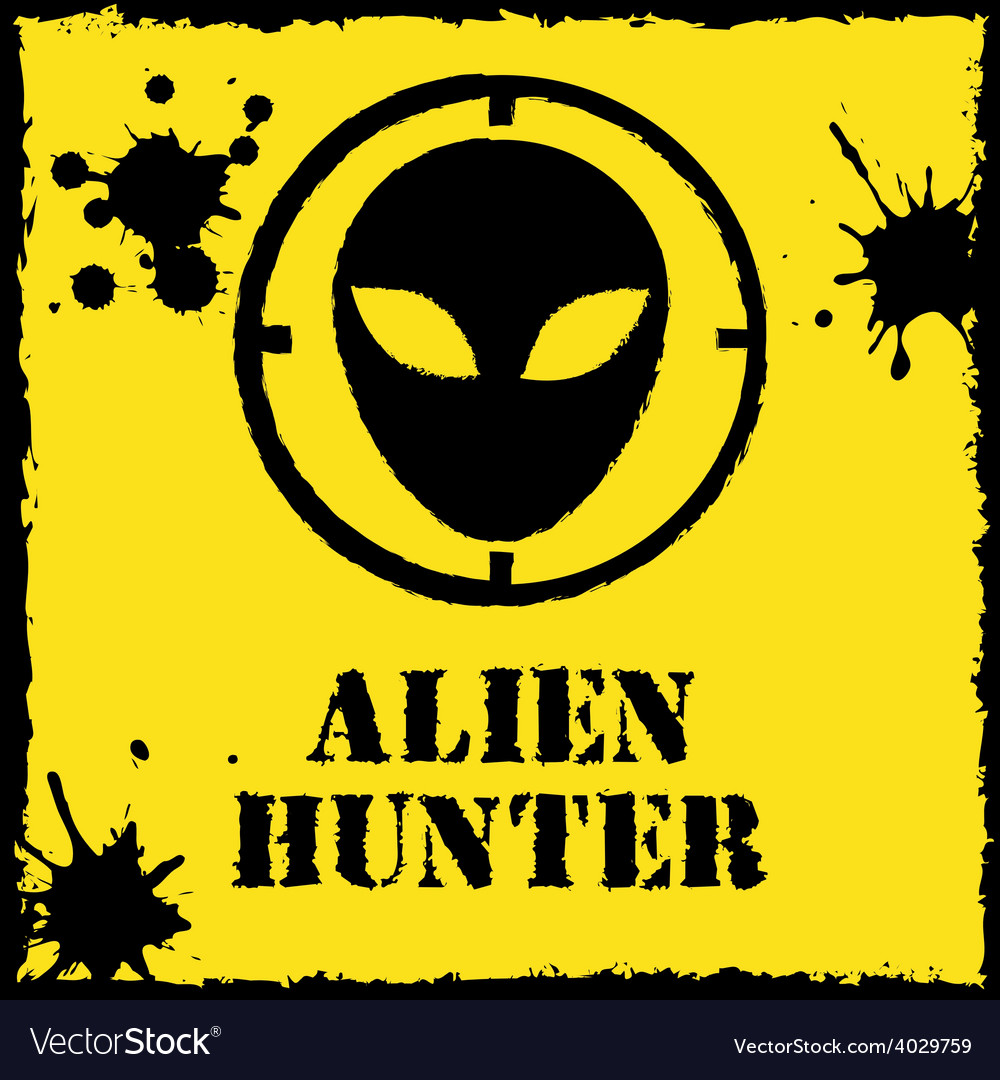 Alien hunter logo on red yellow vector