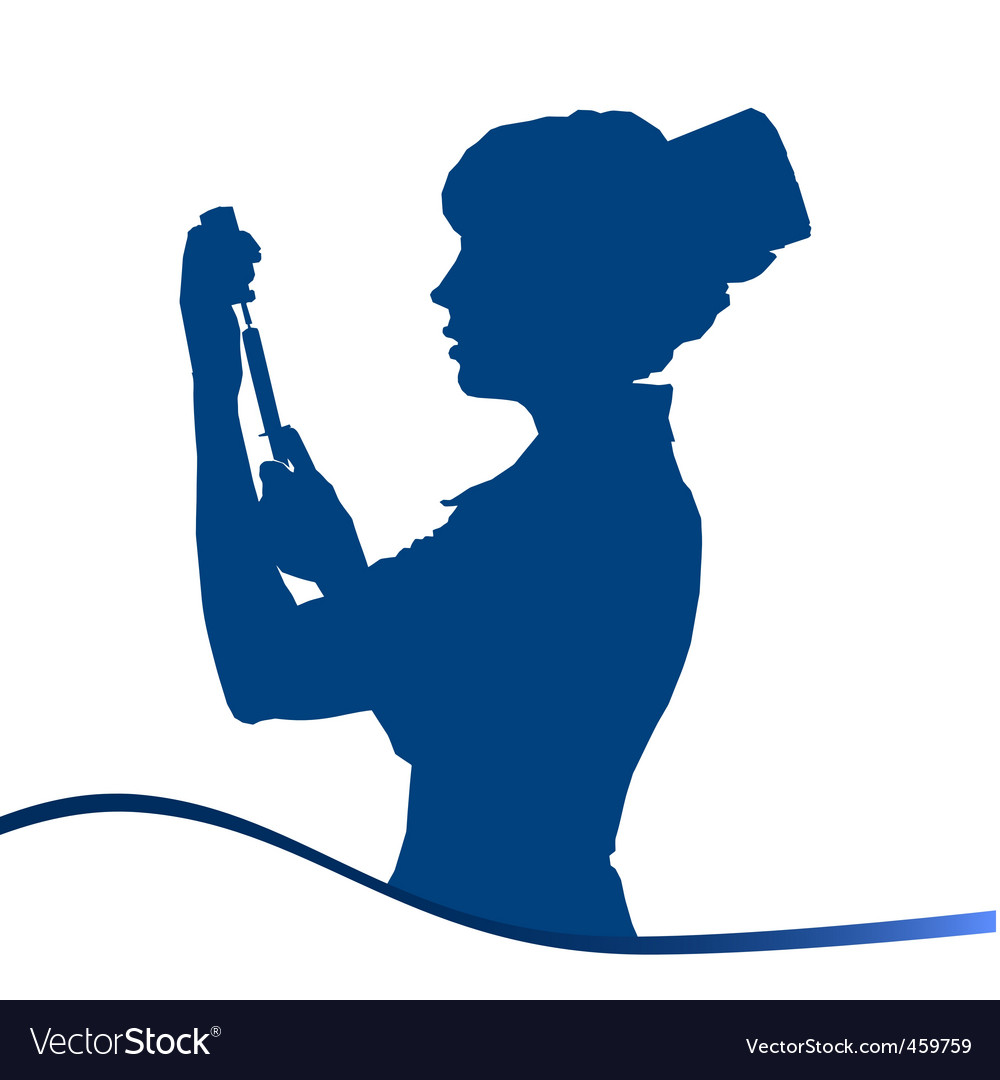 Assistant silhouette blue on white vector | Price: 1 Credit (USD $1)