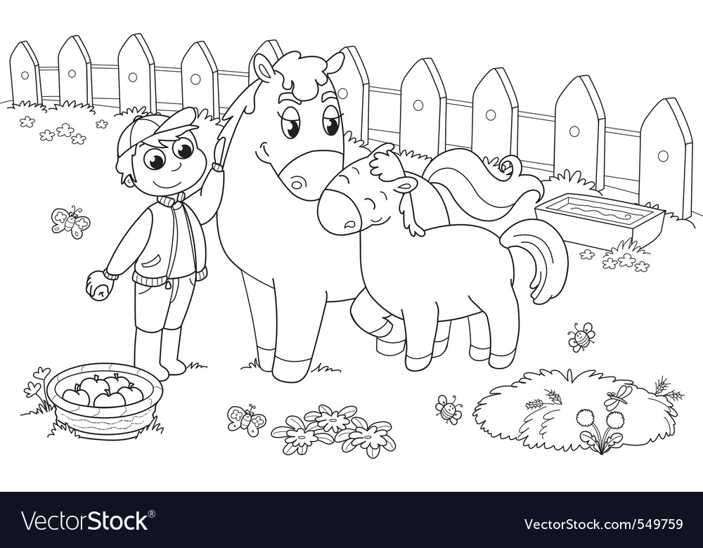 Boy with horse and colt vector | Price: 1 Credit (USD $1)