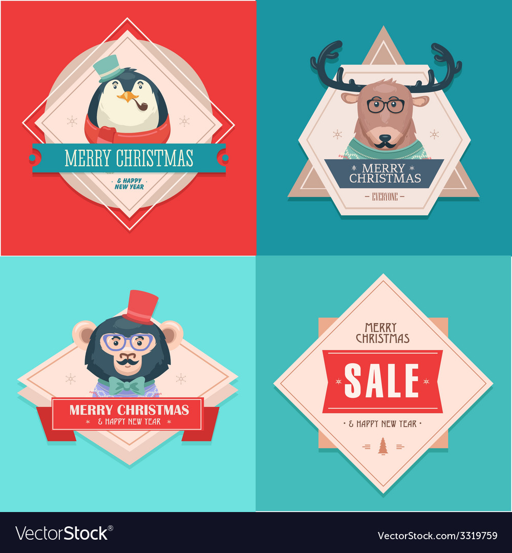 Christmas hipster animals sale card vector | Price: 1 Credit (USD $1)
