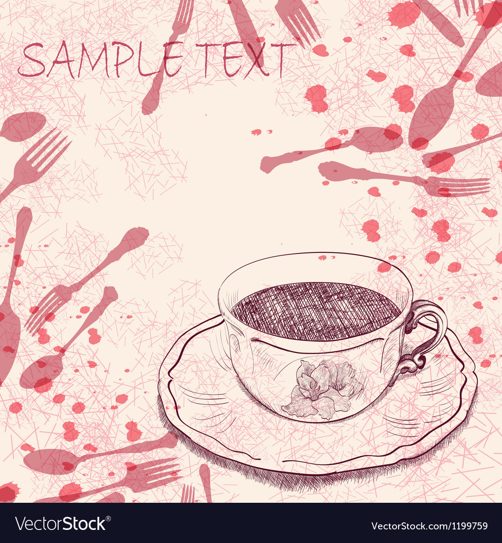 Handwritten background with a tea cup vector | Price: 1 Credit (USD $1)