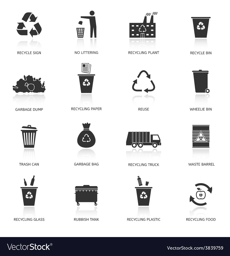 Recycling garbage icons set vector