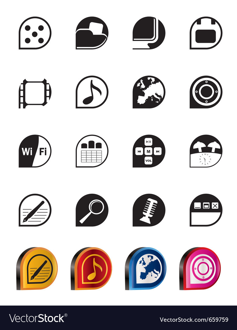 Simple phone performance and office icons vector | Price: 1 Credit (USD $1)