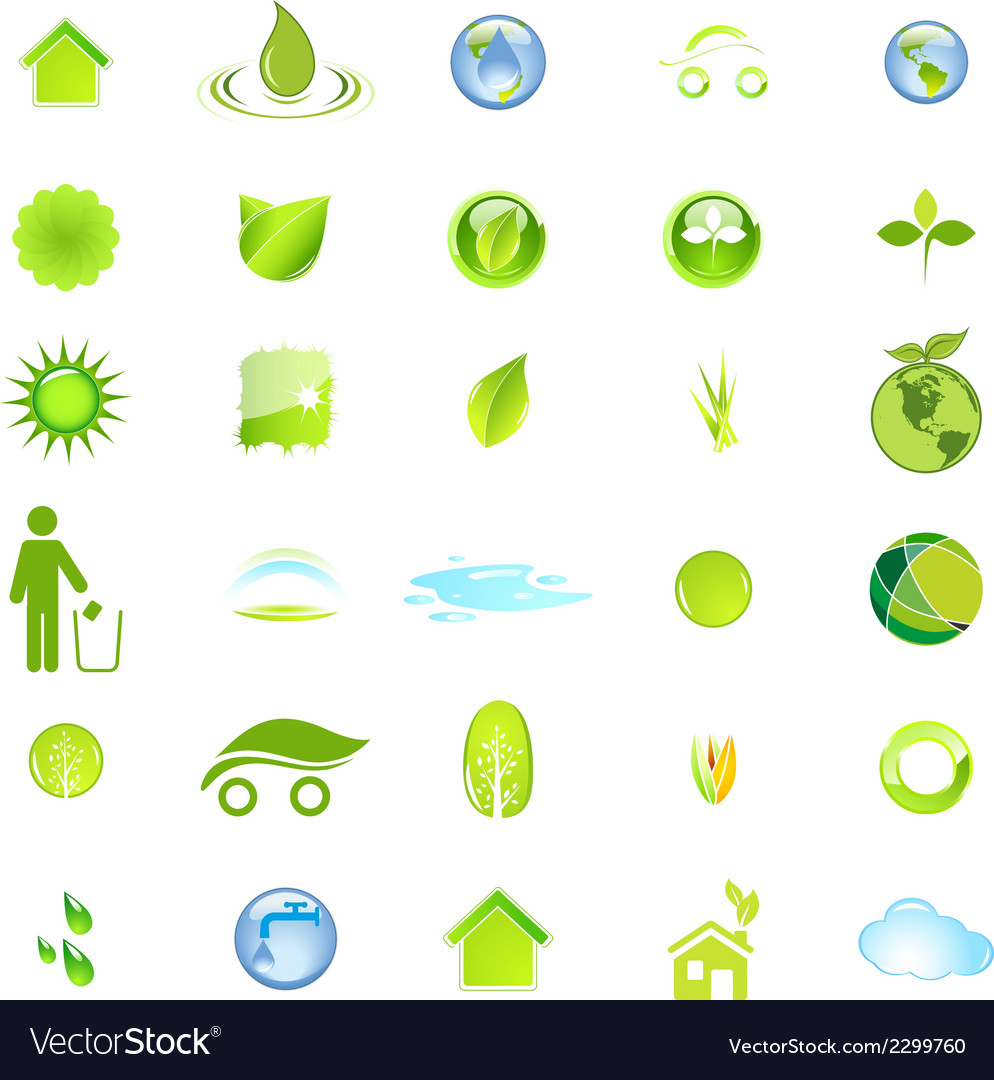 Ecology and environment icon set in format vector | Price: 1 Credit (USD $1)