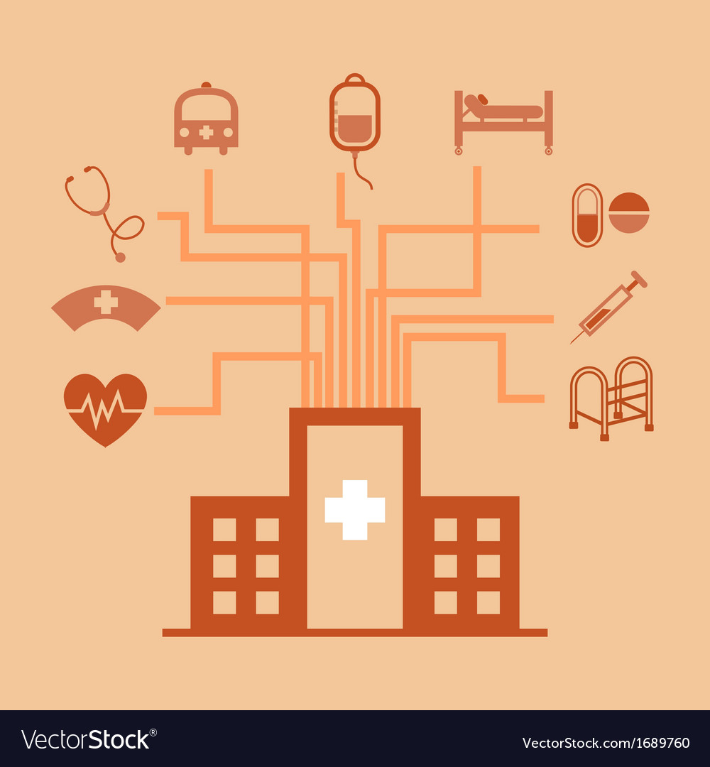 Hospital concept idea in flat style vector | Price: 1 Credit (USD $1)