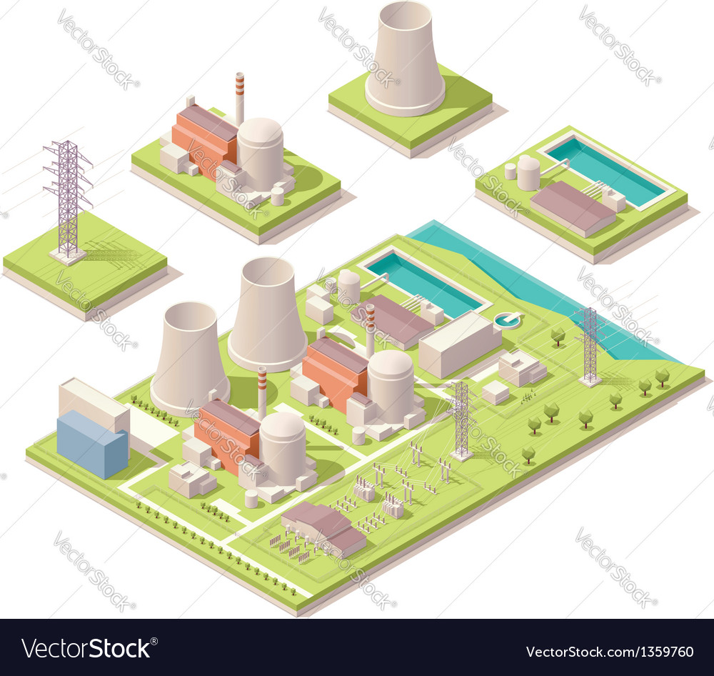 Isometric nuclear power facility vector | Price: 3 Credit (USD $3)