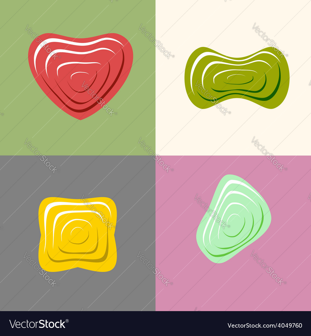 Set logos of plastic forms heart icon logo logo vector | Price: 1 Credit (USD $1)