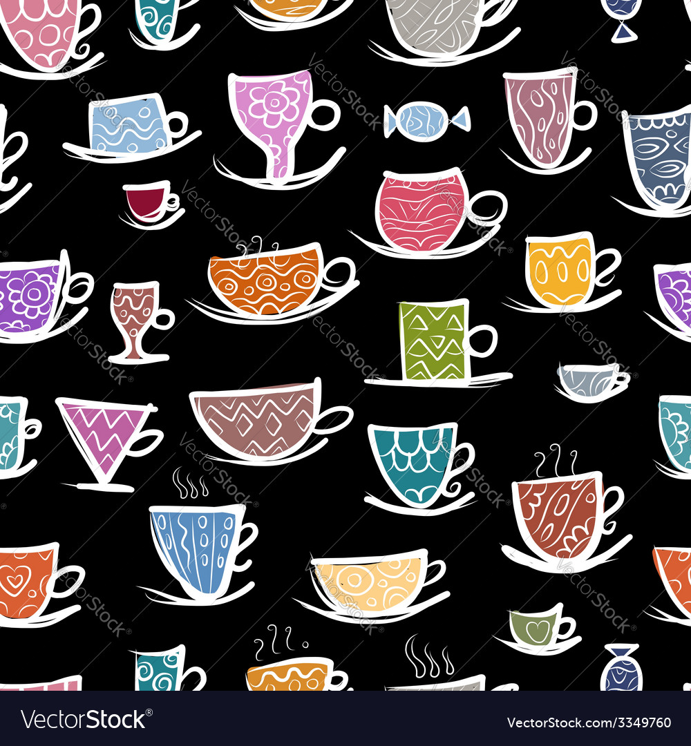 Set of ornate mugs seamless pattern for your vector | Price: 1 Credit (USD $1)